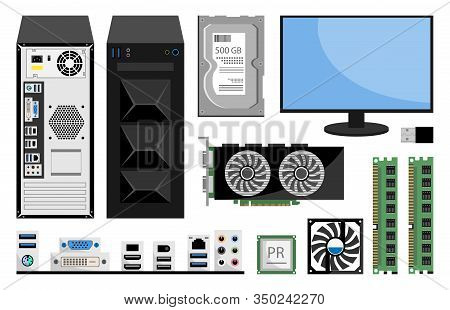 Realistic Computer Monitor, Ram Computer Memory, Cpu, Winchester Disk, Motherboard, Processor Cooler