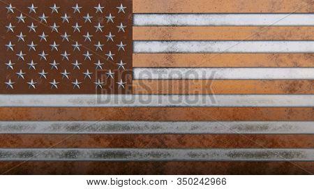 Old Metal Usa Flag Bronze, Copper, Aluminium, Iron 3d Rendering