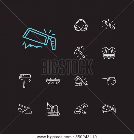 Industry Icons Set. Hoe And Industry Icons With Paint Roller, Utility Knife And Safety Glasses. Set