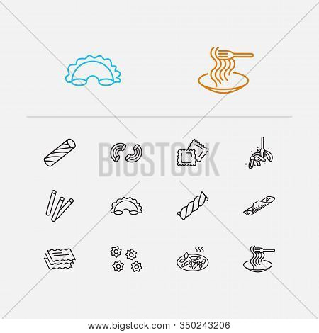 Cuisine Icons Set. Lasagna Pasta Shape And Cuisine Icons With Tasty, Stelle Pasta Shape And Macaroni