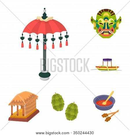 Vector Illustration Of Bali And Indonesia Logo. Collection Of Bali And Caribbean Stock Vector Illust