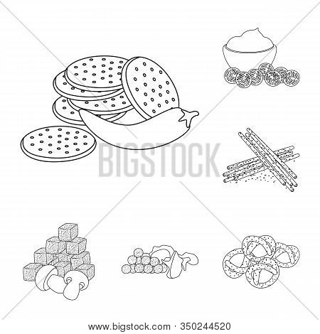 Vector Illustration Of Taste And Crunchy Sign. Collection Of Taste And Cooking Vector Icon For Stock