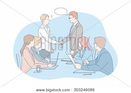 Business Meeting, Negotiation, Team, Agreement Concept. Young Businesmen And Women Have Meeting At O