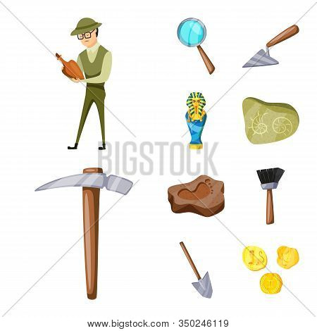 Isolated Object Of Archaeology And Historical Logo. Collection Of Archaeology And Excavation Stock S