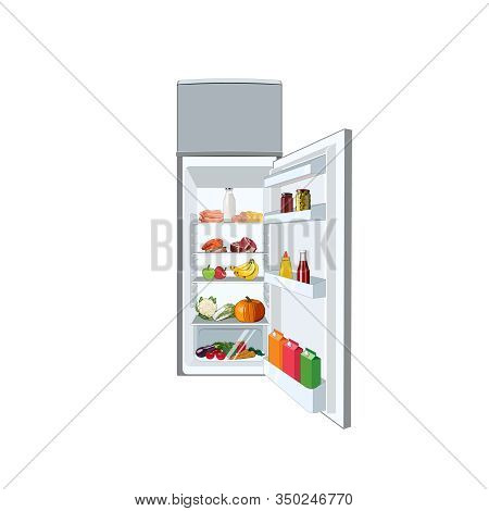 Fridge Full Of Food, Vegetables, Fruits, Meat, Fish. Healthy Diet Fridge. Open Refrigerator. Vector