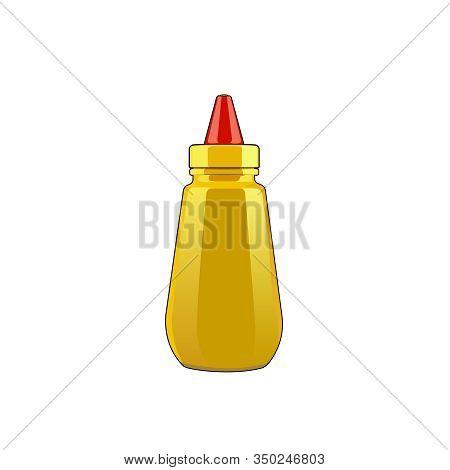 Mustard Sauce Squeeze Bottle. Hot Dog Sauce. Yellow Seasoning. Vector Graphic Illustration Mustard S