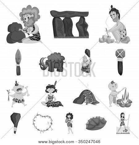 Isolated Object Of Survival And History Icon. Set Of Survival And Prehistory Stock Vector Illustrati