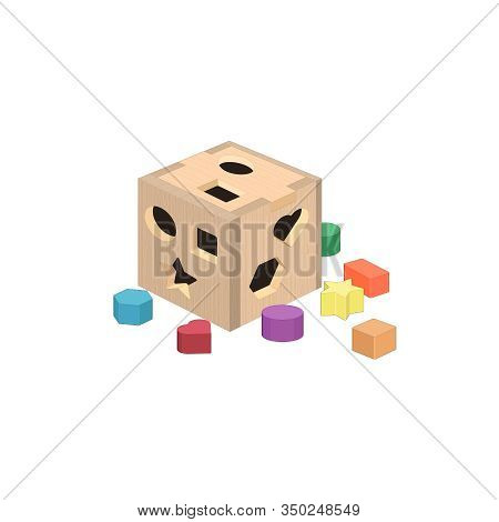 Puzzle Cube, Sorting Shapes Toy. Early Education, Children Development. Kids Game. Puzzle Box. Vecto
