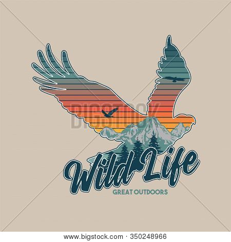 Vintage Logo Style Print Apparel Design Vector Illustration With Wildlife Animal Of American Eagle A