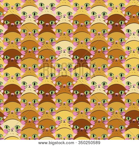 Cute Kittens Heads Seamless Vector Tessellation Pattern In Warm Mustard Yellows. Childish Surface Pr