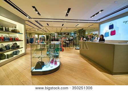 HONG KONG, CHINA - CIRCA JANUARY, 2019: interior shot of Agnes b store in New Town Plaza shopping mall in Hong Kong.