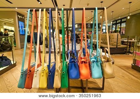 HONG KONG, CHINA - CIRCA JANUARY, 2019: bags on display at Agnes b store in New Town Plaza shopping mall in Hong Kong.