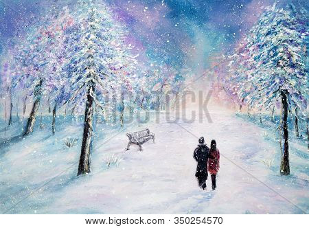 Original Oil Painting Showing Couple In Love Walking In Park On Canvas.night Winter Scene. Modern Im