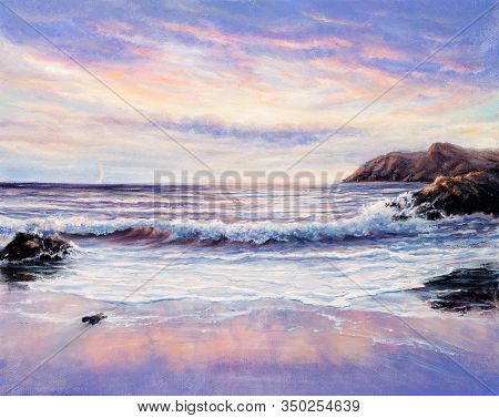 Original  Oil Painting Of Beautiful Purple Sunset Over Ocean Beach On Canvas.modern Impressionism, M