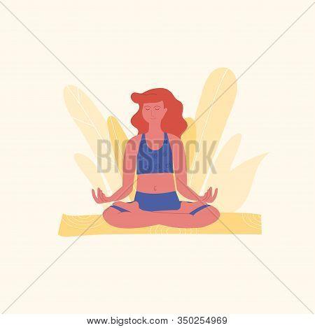 Red-haired Woman Is Meditating In Lotus Pose Or Padmasana Asana On Yellow Yoga Mat. Yoga, Stretching