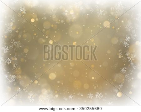 Abstract Christmas Gold Background With White Frame And Copy Space. Gold Abstract Mesh Background. S