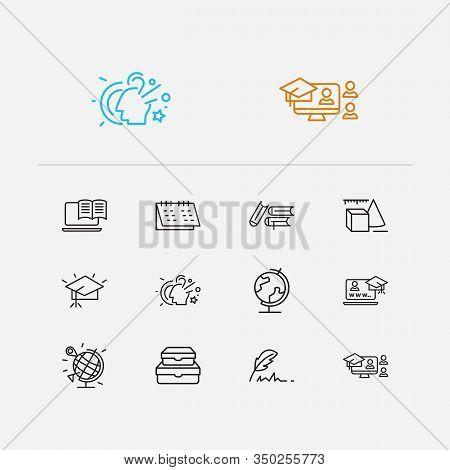 Distant Education Icons Set. Online Education And Distant Education Icons With Graduation Hat, Onlin
