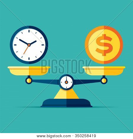 Time Is Money. Scales Icon In Flat Style. Libra Symbol, Balance Sign. Time Management. Dollar And Cl