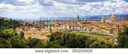 Panoramic View, Aerial Skyline Of Florence Firenze On Blue Backdrop. Famous European Travel Destinat