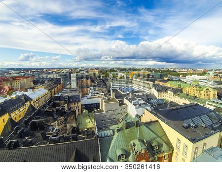 Aerial Panorama Of Helsinki City, Capital Of Finland. Drone Bird-eye View