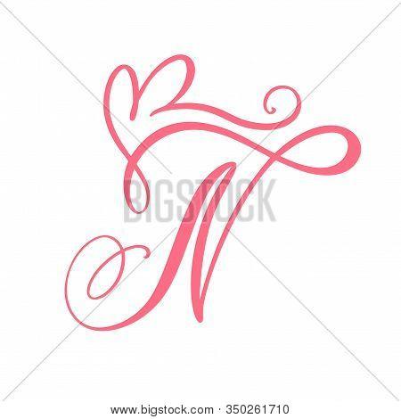 Vector Vintage Floral Monogram Letter N. Calligraphy Element Heart Logo Valentine Card Flourish Fram