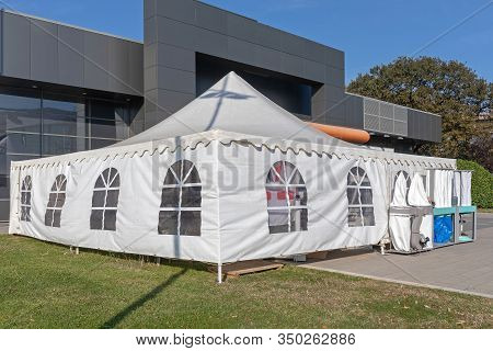 White Tent Canopy At Temporary Fair Outdoor