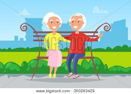 City Landscape, Grandmother And Grandfather Sitting On Bench In Urban Park Vector. Happy And Smiling