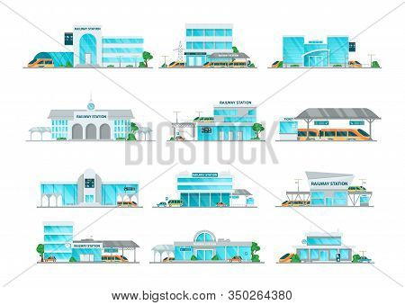 Railway Station Building Cartoon Set Vector Illustration