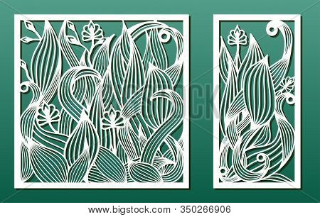 Laser Cut Templates, Set Of Panels With Floral Pattern. Wood Or Metal Cutting, Panel Decor, Paper Ar