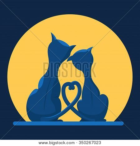 A Couple Of Cute Cats In Love On The Background Of The Moon. Flat Vector Illustration In Trendy Colo