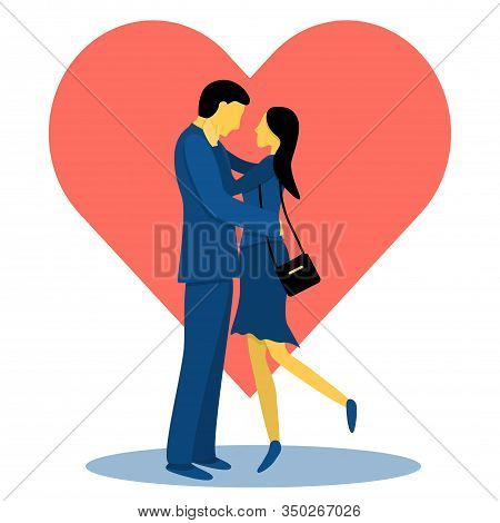 A Couple Of Cute Lovers On The Background Of The Heart. Flat Vector Illustration In Trendy Colors