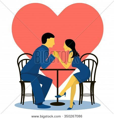 A Couple Of Cute Lovers At A Table In A Cafe, On The Background Of The Heart. Flat Vector Illustrati