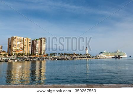 Malaga Lighthouse And Harbor - Andalusia, Costa Del Sol, Spain, Europe