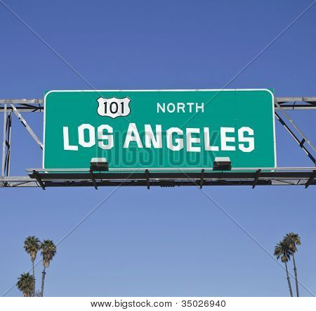 101 Los Angeles Freeway sign with hand made font.