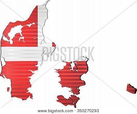 Shiny Grunge Map Of The Denmark - Illustration,  Three Dimensional Map Of Denmark