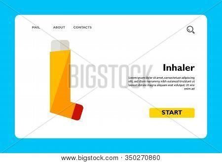 Multicolored Flat Icon Of Orange Inhaler For Asthmatics
