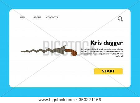 Vector Icon Of Kris Dagger. Indonesian Weapon, Souvenir, Knife. Indonesia Concept. Can Be Used For T
