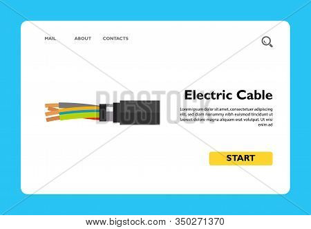 Illustration Of Four-wire Armored Electric Copper, Cable. Electricity, Technology, Conductor. Electr