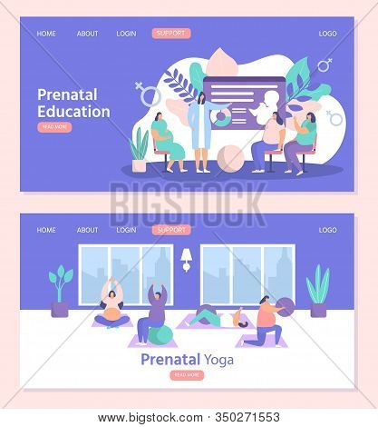 Pregnant Women Exercises Fitness, Yoga And Prenatal Education Vector Illustration Websites Page Temp