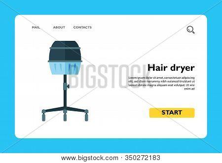 Vector Icon Of Wheeled Hood Hair Dryer. Hairstylist, Barbershop, Hairdressing Salon. Hairdresser Too