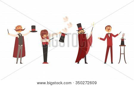 Collection Of Magicians Characters Performing Tricks At Magic Show Vector Illustration