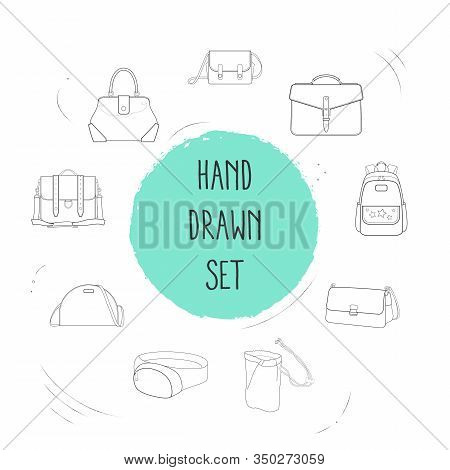 Set Of Case Icons Line Style Symbols With Safari Bag, Briefcase, Fanny Pack And Other Icons For Your