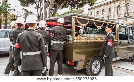 Izmir, Turkey - November 30, 2017: Turkish Soldiers  Carrying The Coffin Of A Korean War Veteran To