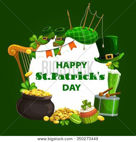 Irish Holiday Green Shamrock, Leprechaun Hat And Pot Of Gold Vector Design Of St Patrick Day. Lucky