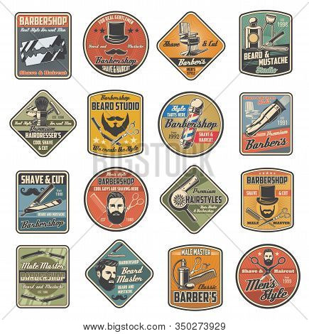 Barbershop Retro Labels Of Man Hair Cut, Beard And Mustache Shaving Vector Design. Barber Shop Pole,
