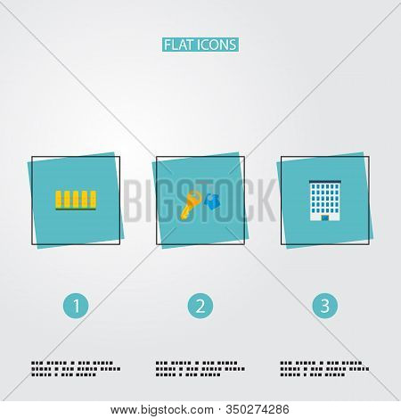 Set Of Realestate Icons Flat Style Symbols With Building, Fence, Key And Other Icons For Your Web Mo