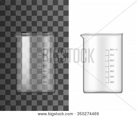 Glass Beaker Lab Glassware 3d Vector Design Of Chemistry And Science Equipment. Chemical Laboratory