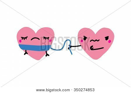 One Heart Bind Another Tyrant Toxic Relations Hand Drawn Vector Illustration In Cartoon Comic Style