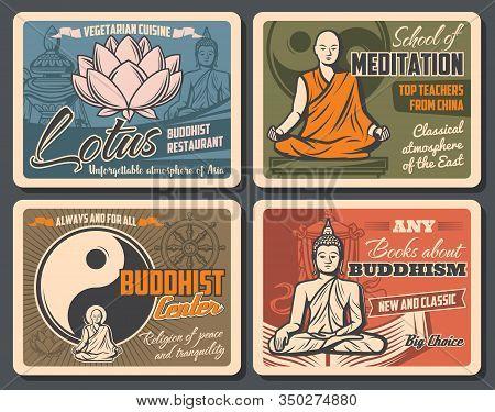 Buddhism Religion Sacred Lotus, Buddha Statue And Yin Yang Symbol, Dharma Wheel, Tibetan Monk And Pr