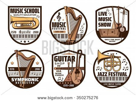 Music Instrument, Musical Note And Treble Clef Vector Badges. Classical Piano, Trumpet, Harp And Tub